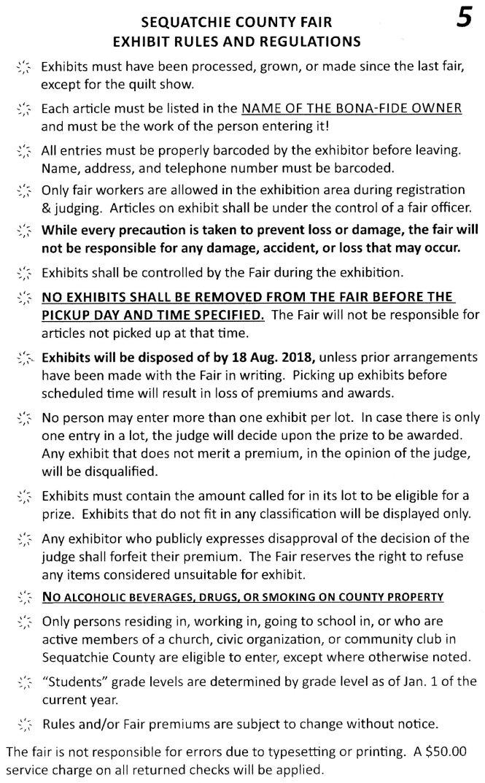 2018 exhibit rules