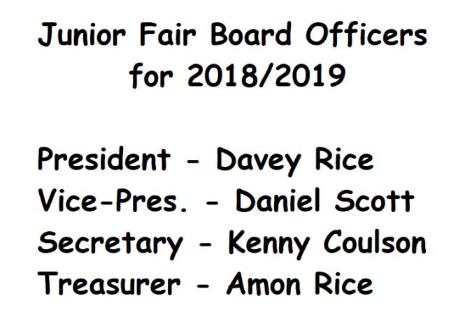 Jr. Fair Board Officers