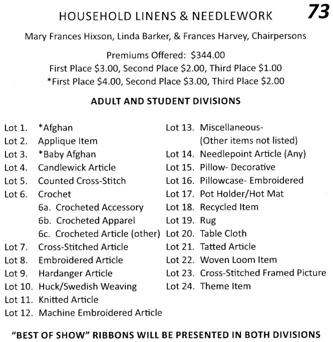 household linens and needlework